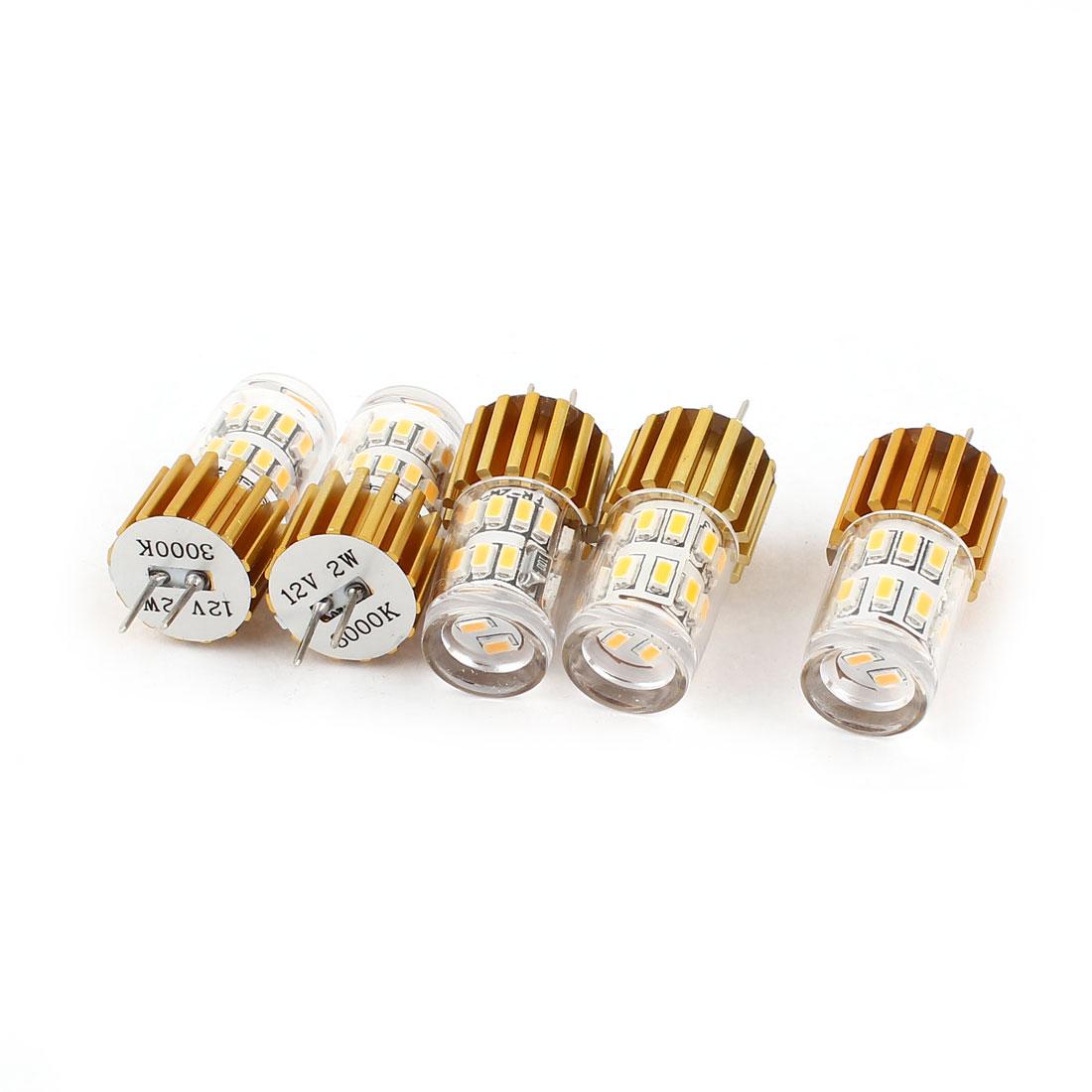 5 Pcs Aluminium Energy Saving G4 2W 3014 SMD 24 LED Bulb Light White DC12V