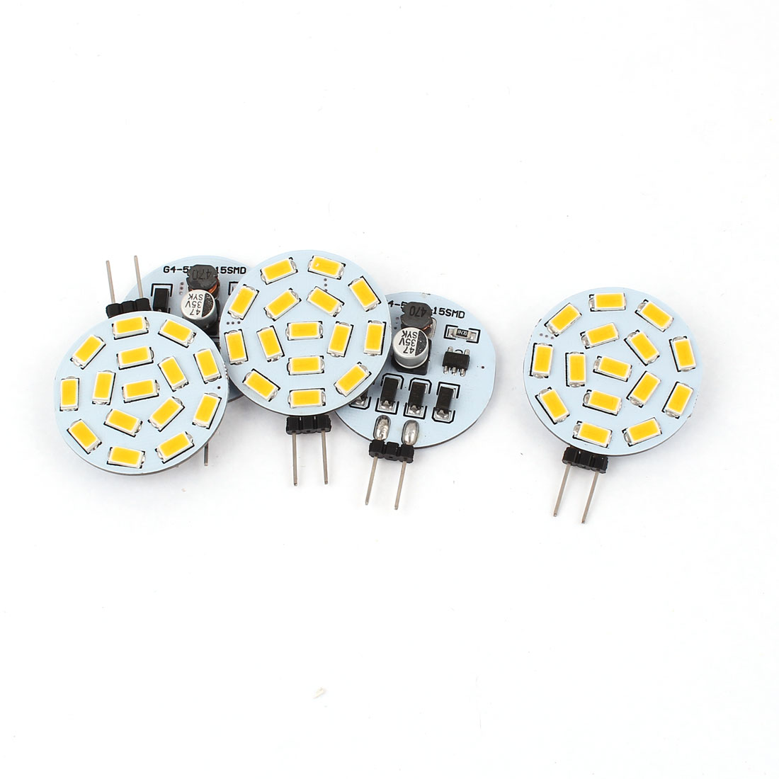 5 x G4 5730 SMD 15 LED Cabinet Marine Boat Light Bulb Lamp Warm White