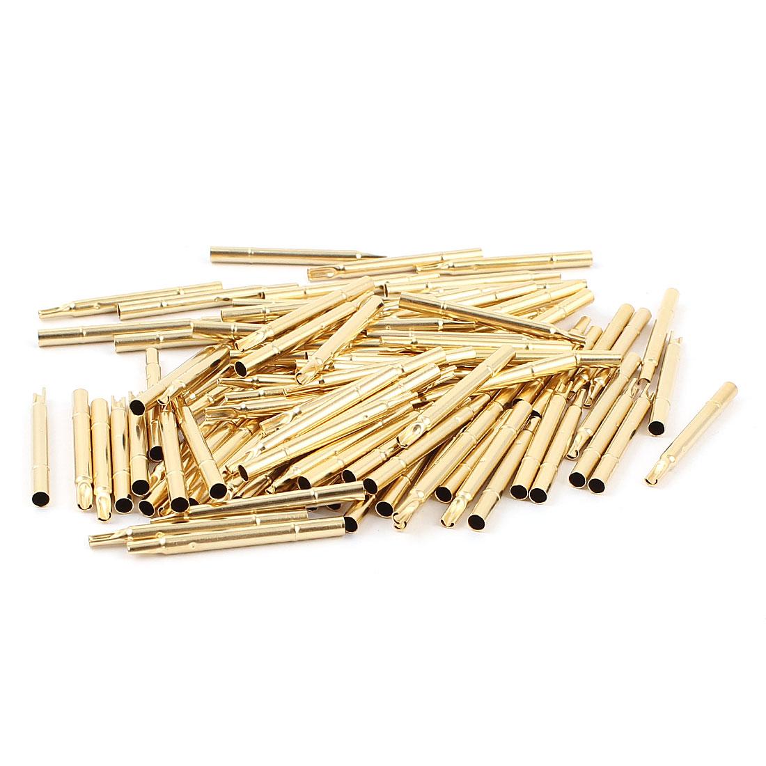 100 Pcs R156-4S 2.69mm Dia Testing Probe Pin Receptacles Gold Tone