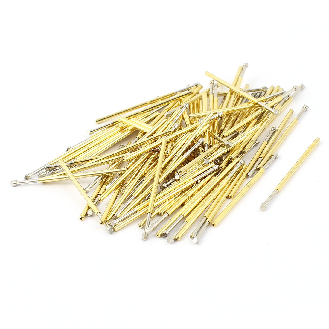 100 Pcs P100-T2 1.5mm Chisel Tip Spring Testing Probes Pin 33.3mm Length