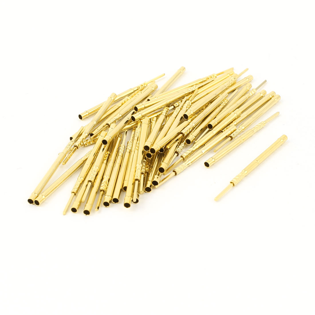 50 Pcs R160-2W 1.67mm Dia Testing Probe Pin Receptacles Gold Tone