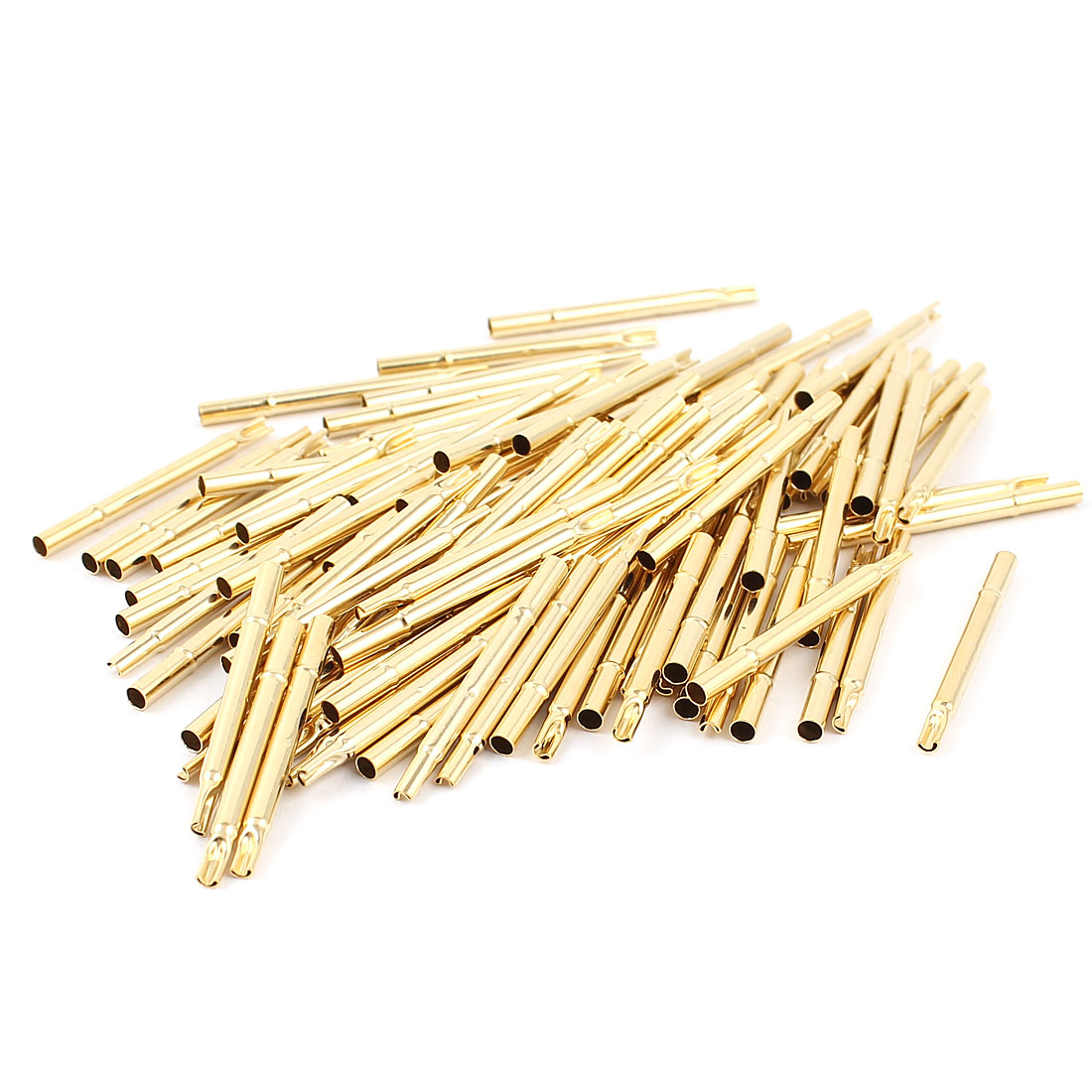 100 Pcs R125-4S Metal 2.36mm Dia Testing Probe Pin Receptacles Gold Tone