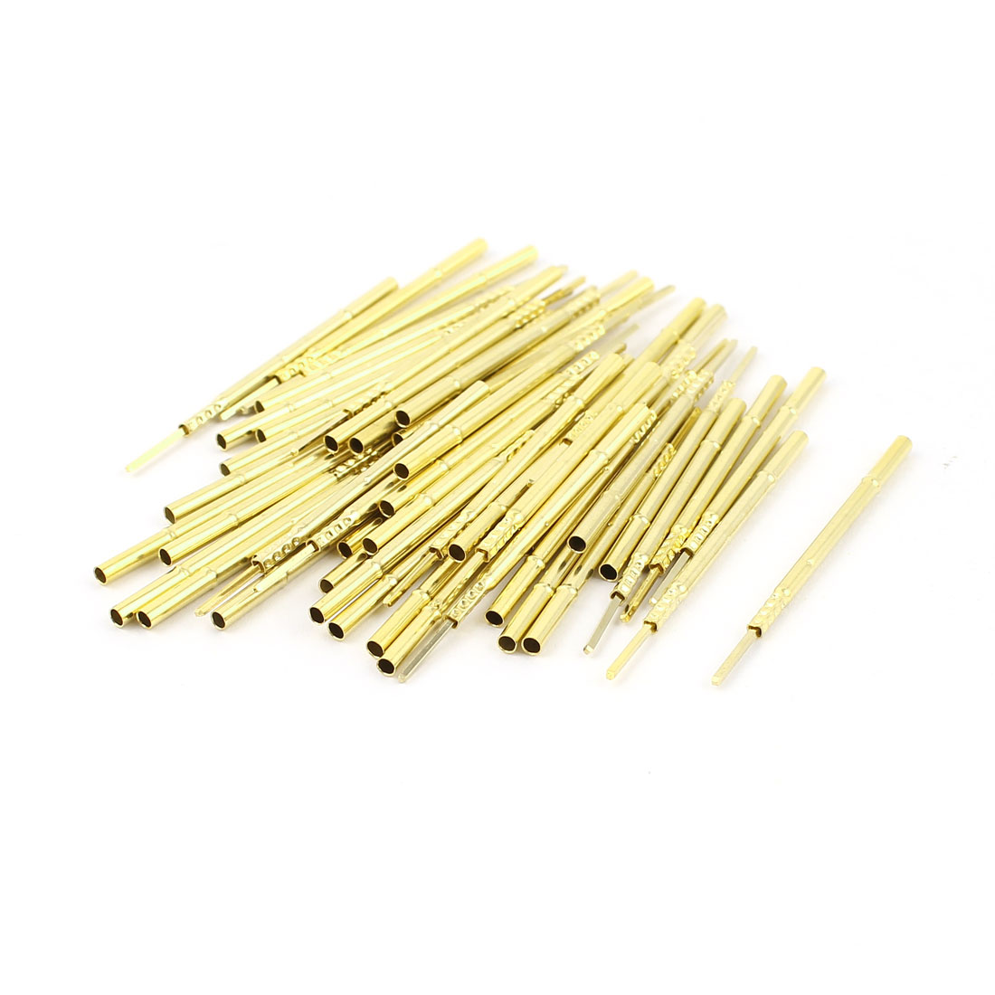 50 Pcs R100-4W 1.7mm Dia Testing Probe Pin Receptacles Gold Tone