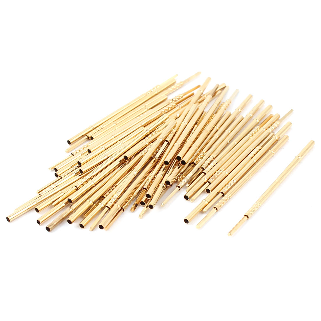 50 Pcs PL75-4W 1.3mm Dia Testing Probe Pin Receptacles Gold Tone