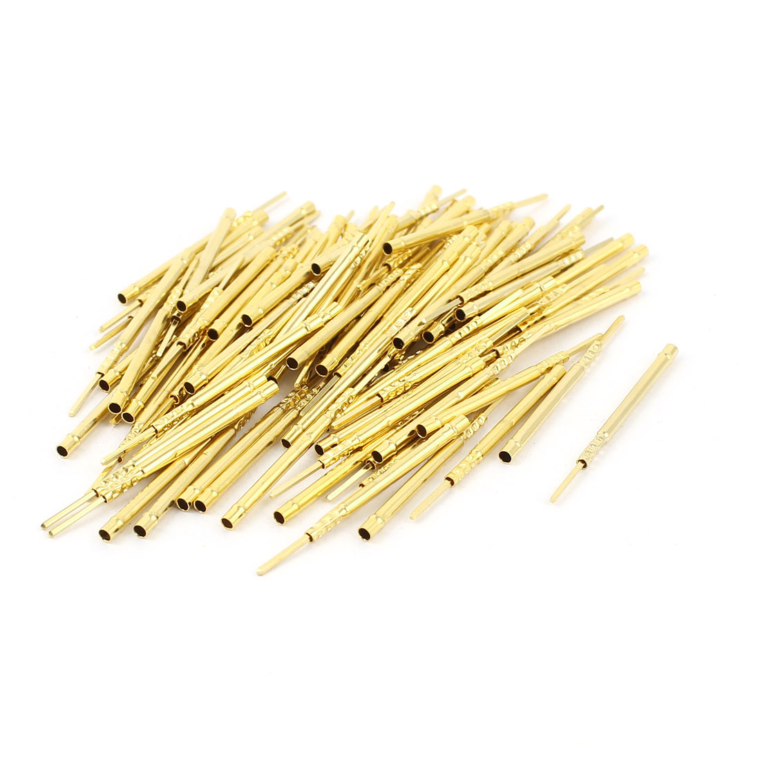 100 Pcs R160-2W 1.67mm Dia Testing Probe Pin Receptacles Gold Tone