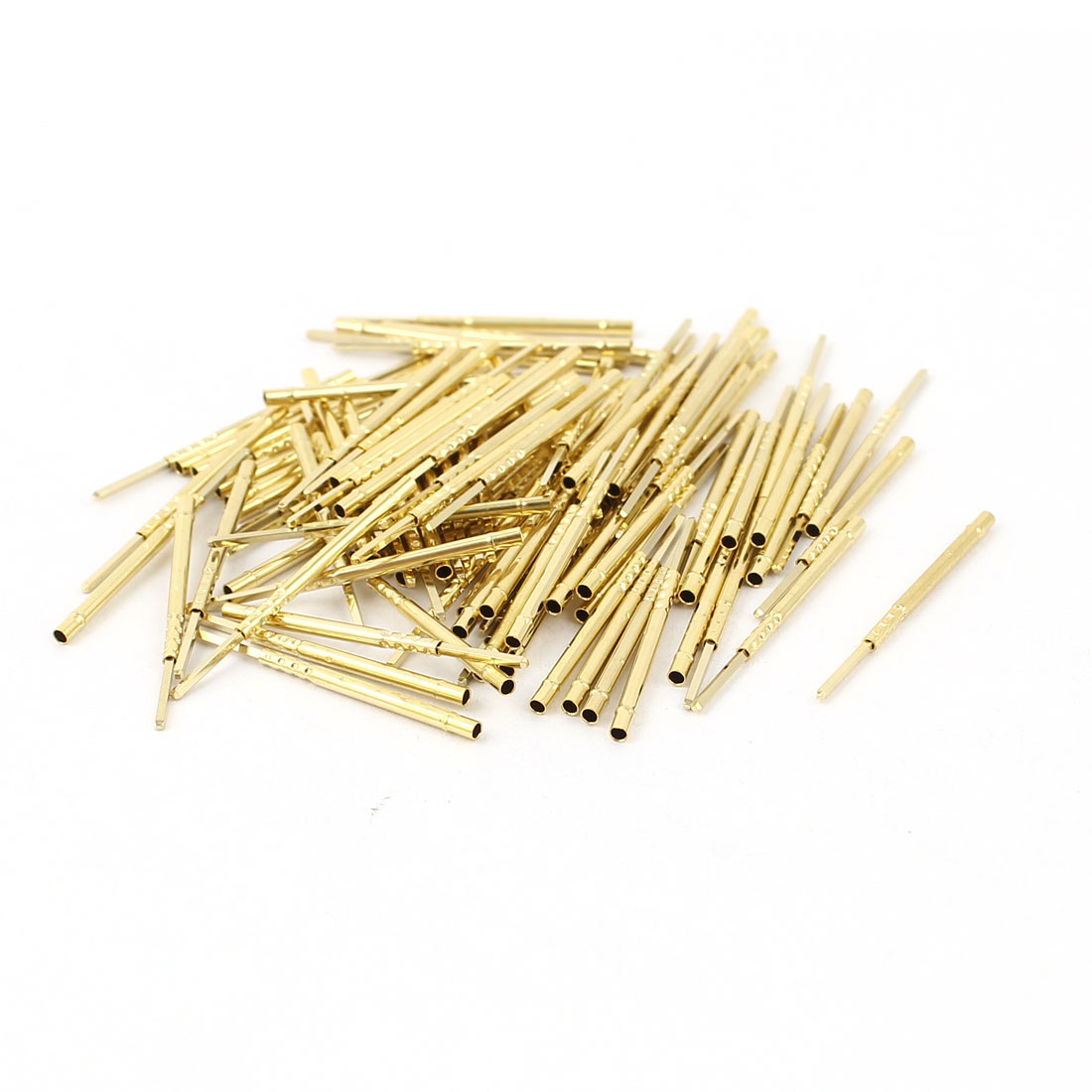 100 Pcs R75-2W 1.32mm Dia Testing Probe Pin Receptacles Gold Tone