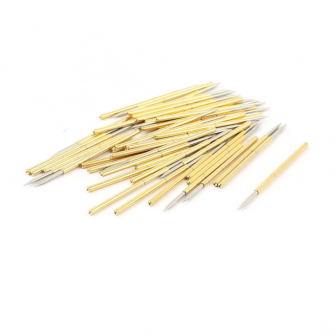 50 Pcs P100-B1 1.0mm Spear Tip Spring Testing Probes Pin 32.3mm Length