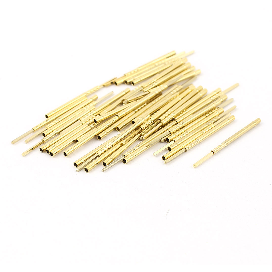 50 Pcs R75-2W 1.32mm Dia Testing Probe Pin Receptacles Gold Tone