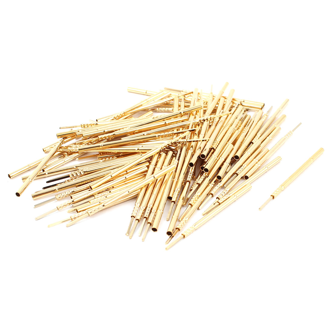 100 Pcs R100-4W 1.7mm Dia Testing Probe Pin Receptacles Gold Tone