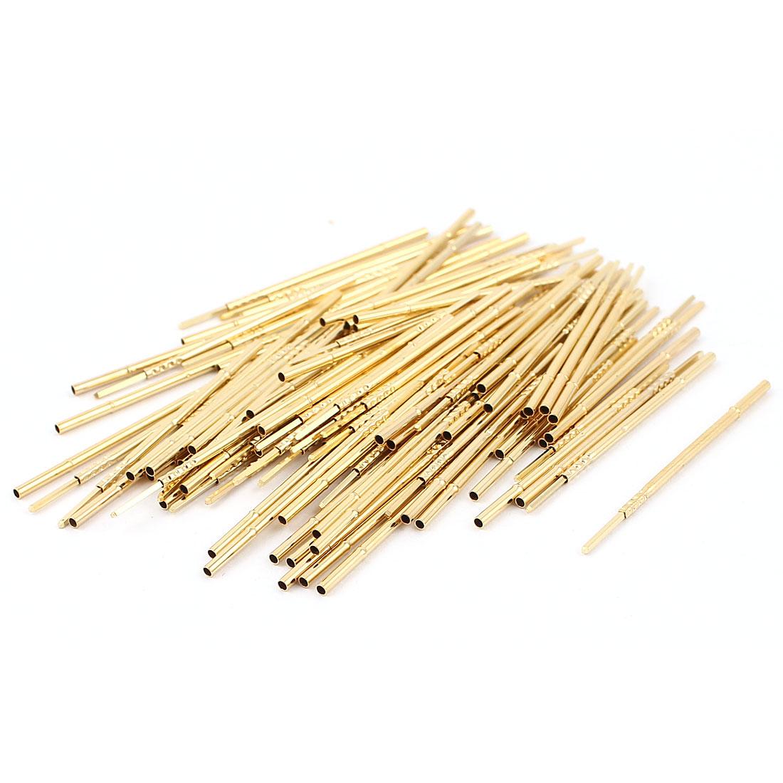 100 Pcs PL75-4W 1.3mm Dia Testing Probe Pin Receptacles Gold Tone