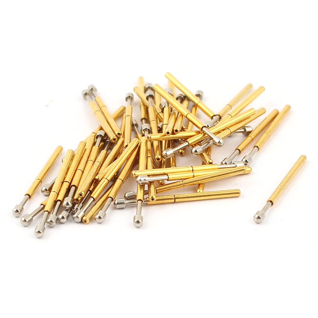 50 Pcs P75-D2 1.3mm Spherical Tip Spring Testing Probes Pin 16.5mm Length