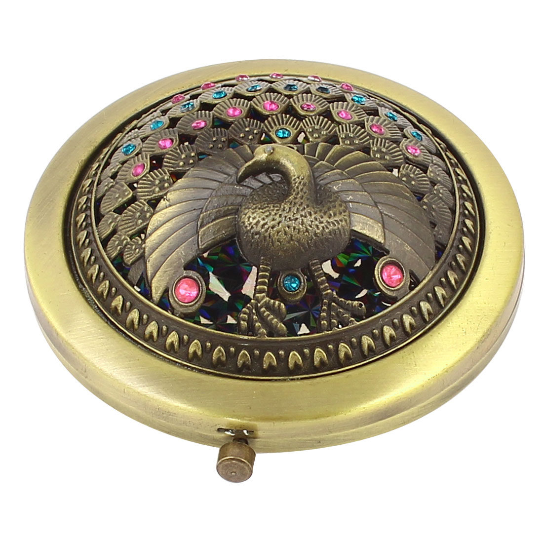 Antique Style Peacock Shape Rhinestone Accent Foldable Cover Makeup Mirror for Lady