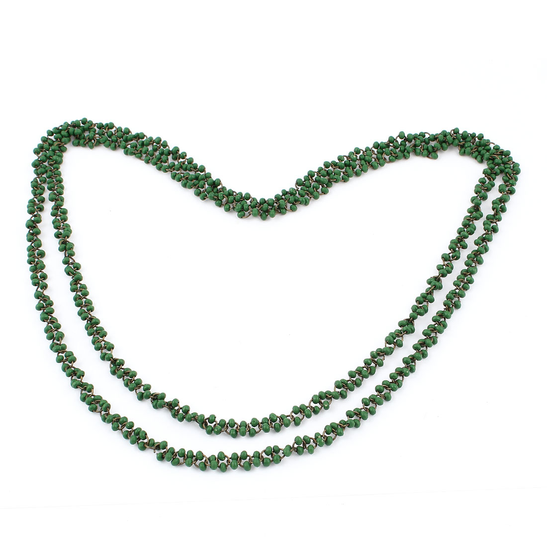 Ladies 2 Layers Green Wooden Beads Link Chain Sweater Long Necklace