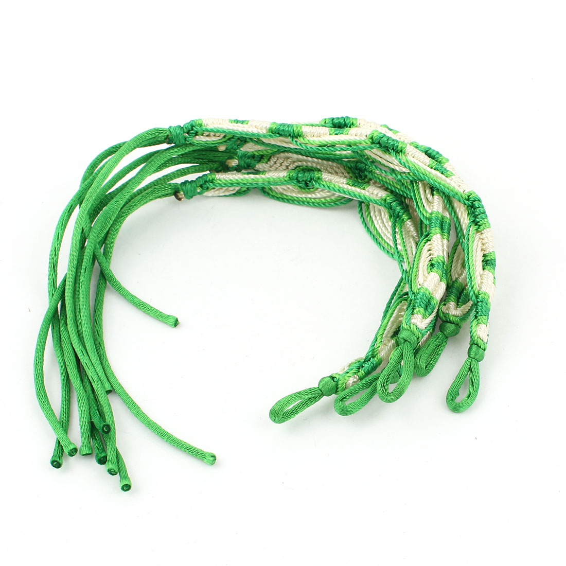 5 Pcs Green Beige Nylon Cord Handwork Braided Wrist Accent Bracelet for Lady