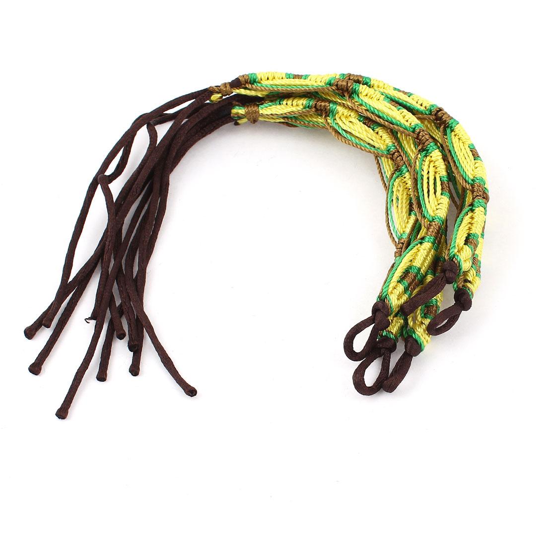 Women 4 Color Nylon Cord Handmade Braided Wrist Accent Bracelet 5 Pieces