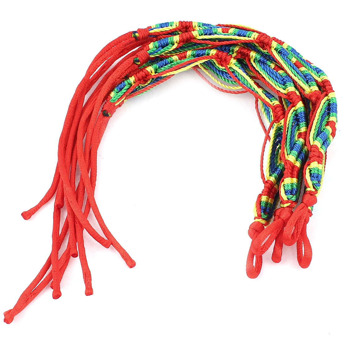 5 Pcs Red Blue Nylon Cord Handwork Braided Wrist Accent Bracelet for Lady