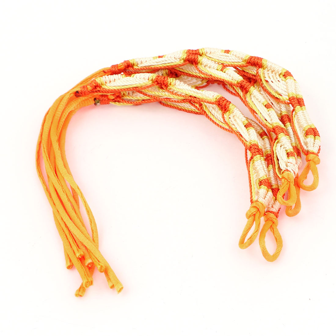 5 Pcs Orange Beige Nylon Cord Handwork Braided Wrist Decor Bracelet for Lady