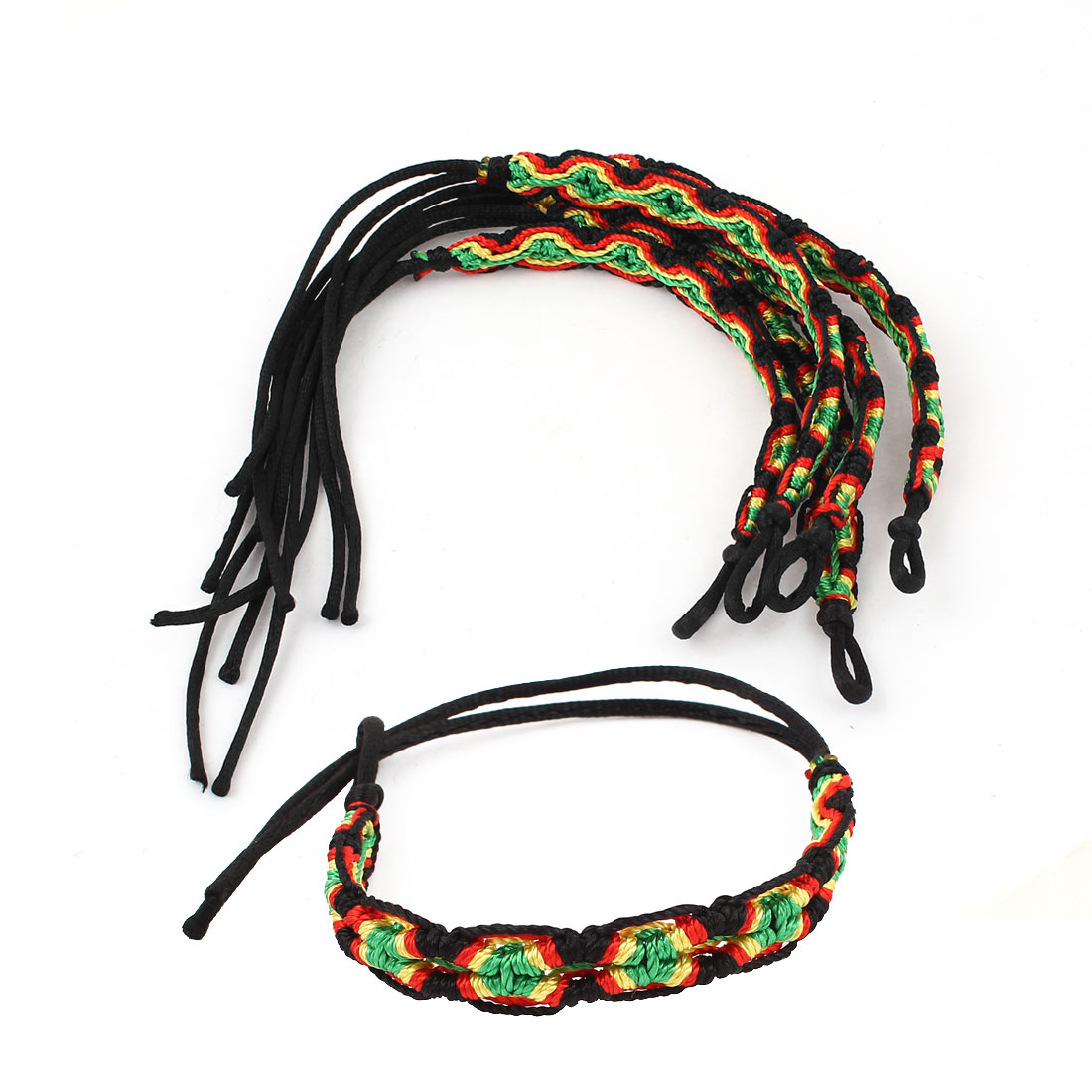 5 Pcs Black Green Nylon Cord Hand Made Braided Wrist Decor Bracelet for Ladies