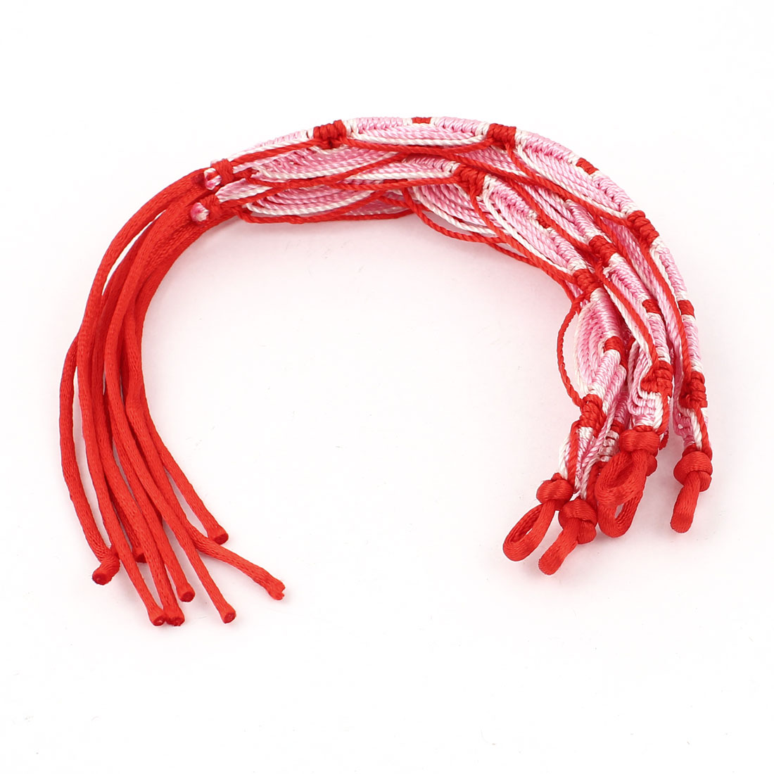 5 Pcs Red Pink Nylon Cord Handwork Braided Wrist Decor Bracelet for Lady