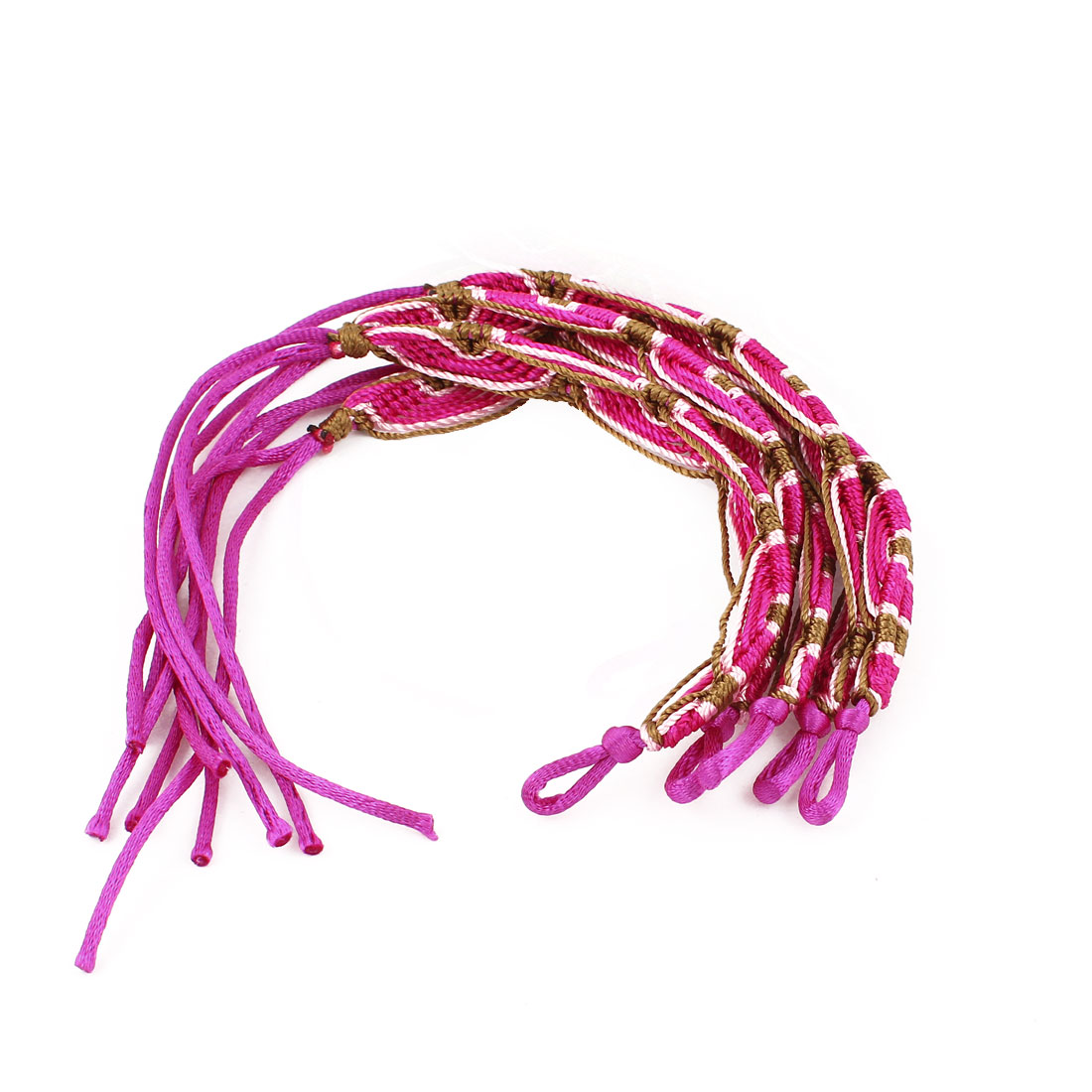 5 Pcs Fuchsia Nylon Cord Handwork Braided Wrist Decor Bracelet for Lady