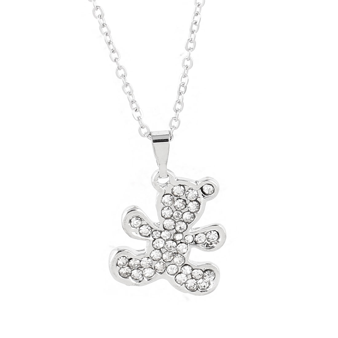 Lady Silver Tone Chain Link Rhinestone Detailing Bear Pendant Necklace