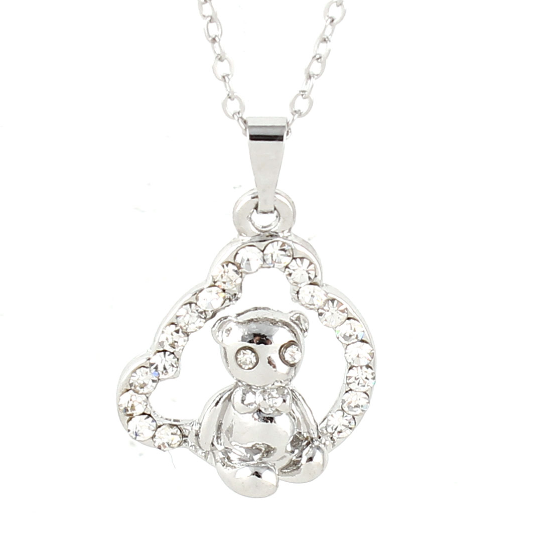 Lady Silver Tone Chain Link Swing Bear Pendant Rhinestone Detailing Necklace