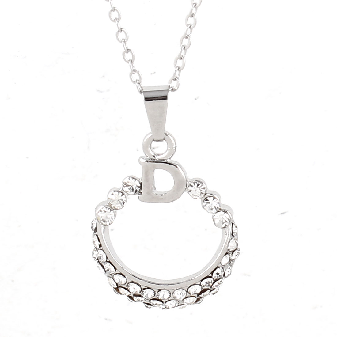 Lady Silver Tone Chain Link Rhinestone Detailing Ring Pendant Necklace 18mm Dia