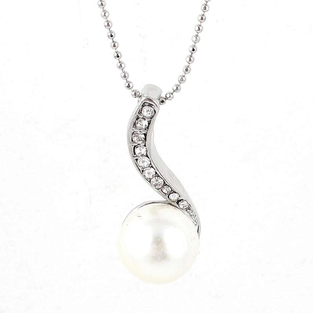 Lady Silver Tone Beads Chain Faux Pearl Pendant Rhinestone Detailing Necklace