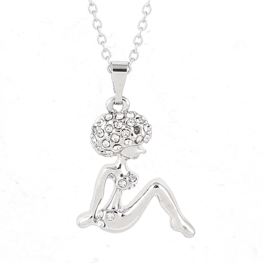 Lady Silver Tone Chain Link Sex Lady Pendant Rhinestone Detailing Necklace