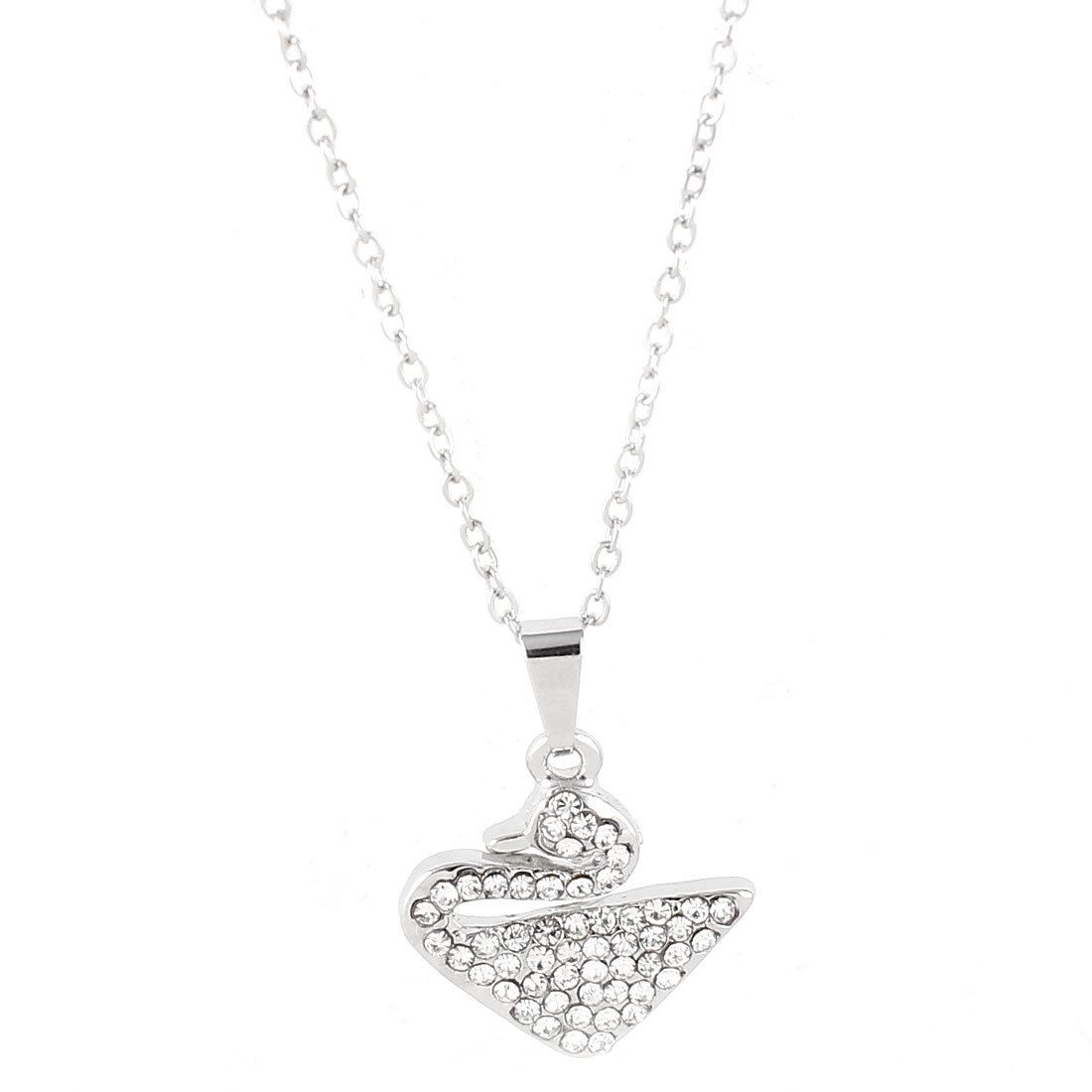 Lady Silver Tone Chain Link Swan Pendant Rhinestone Detailing Necklace