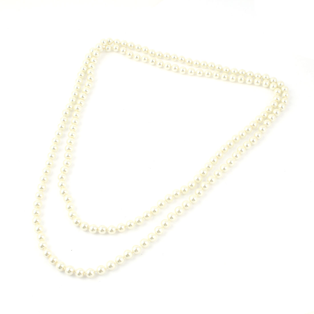 Ladies 2 Layers Ivory Imitation Pearl Beads Chain Sweater Necklace