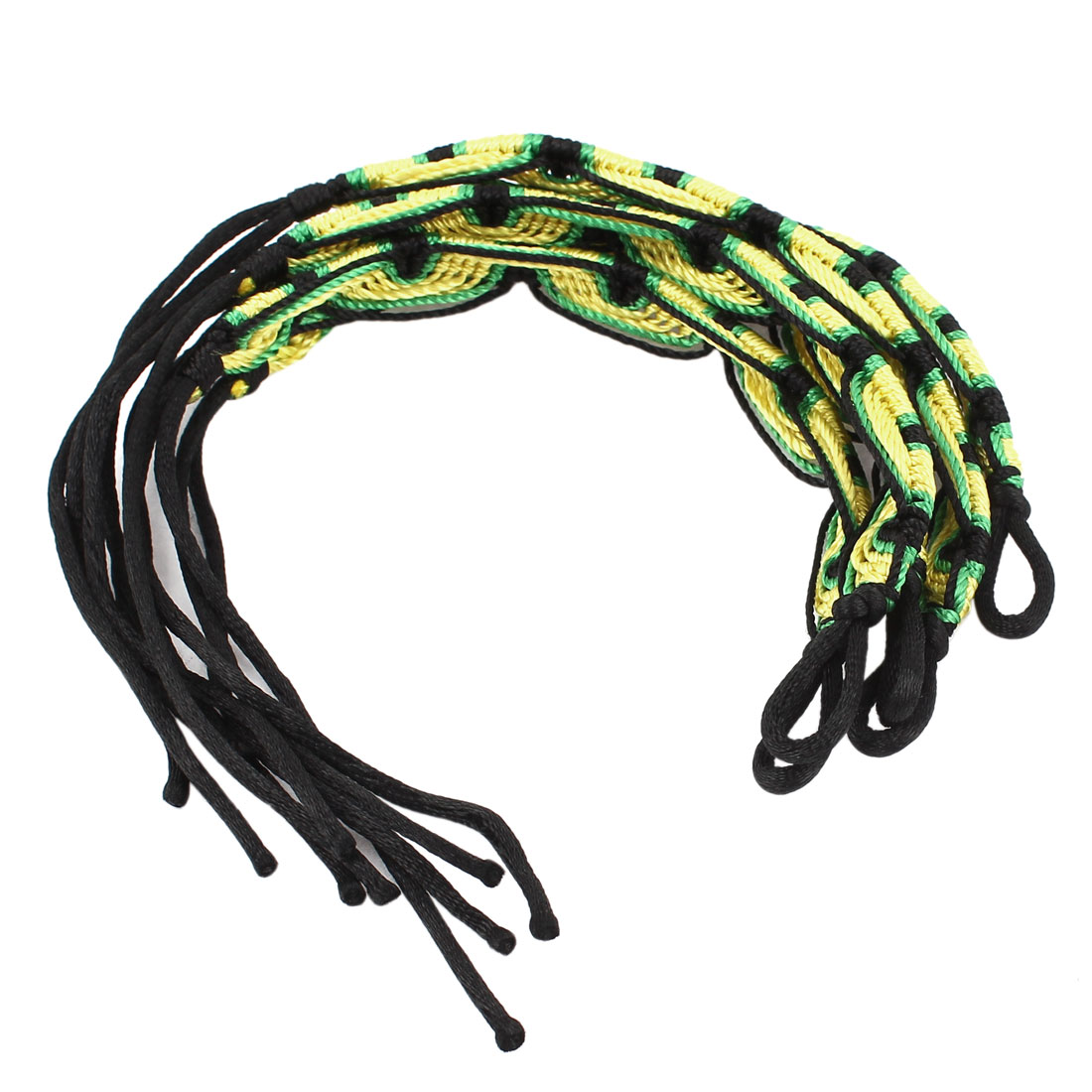 5 Pcs Nylon Cord Handwork Braided Wrist Decor Bracelet Black Yellow for Lady