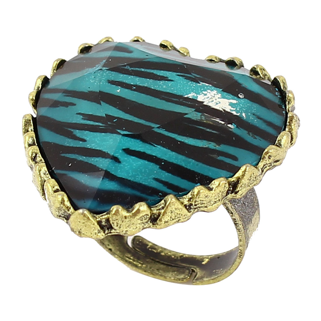 Heart Design Leopard Print Brass Tone Finger Ring US 6 1/2 for Ladies