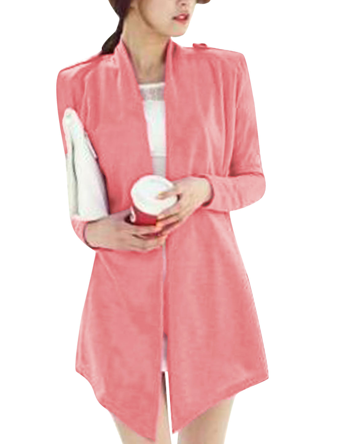 New Style Front Opening Self Tie Strap Casual Cardigan for Lady Pink S