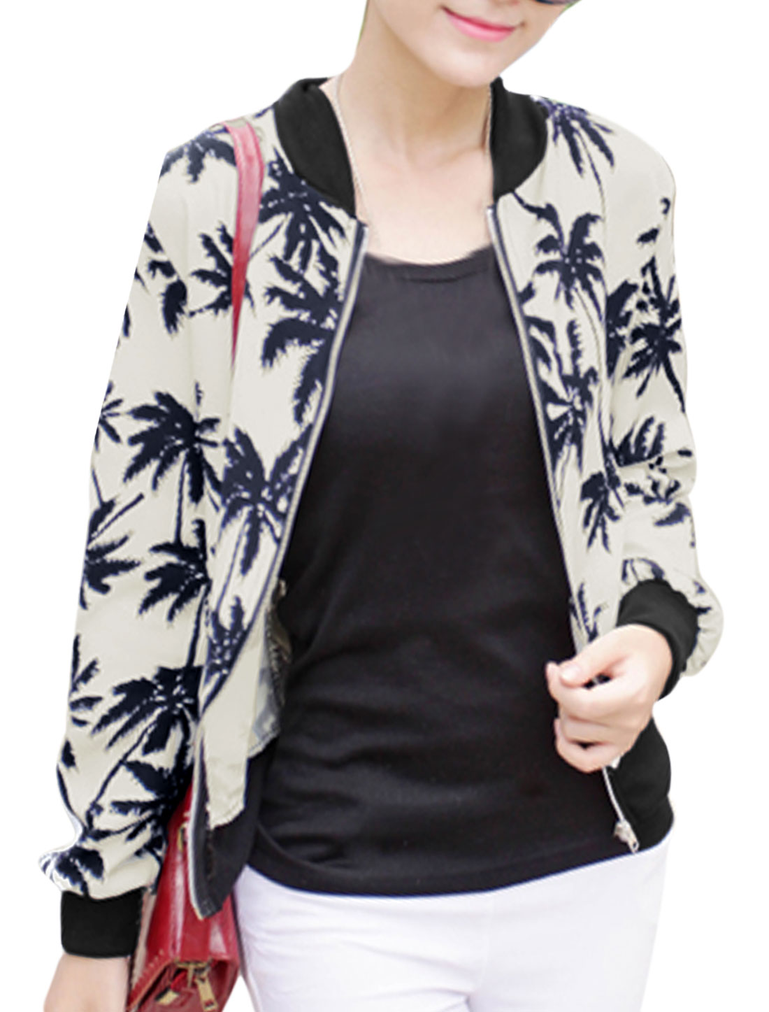 Lady Stand Collar Coconut Tree Pattern Zip Up Stylish Jacket Beige S