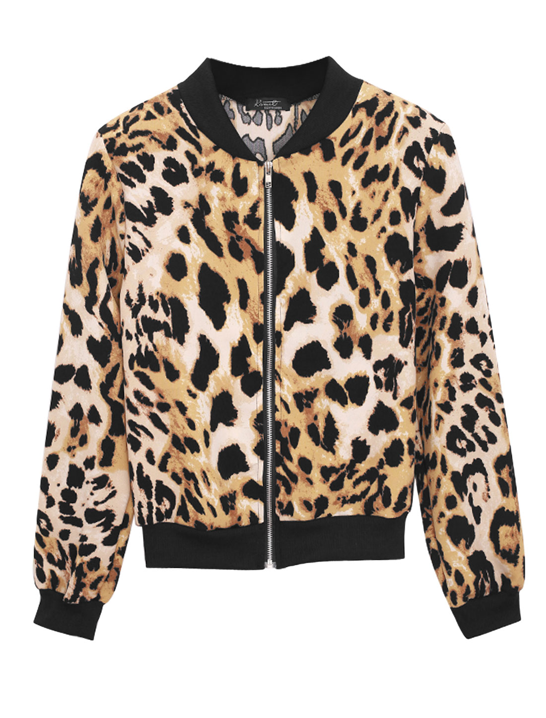 New Style Leopard Pattern Zip Up Fashion Jacket for Lady Camel Black S