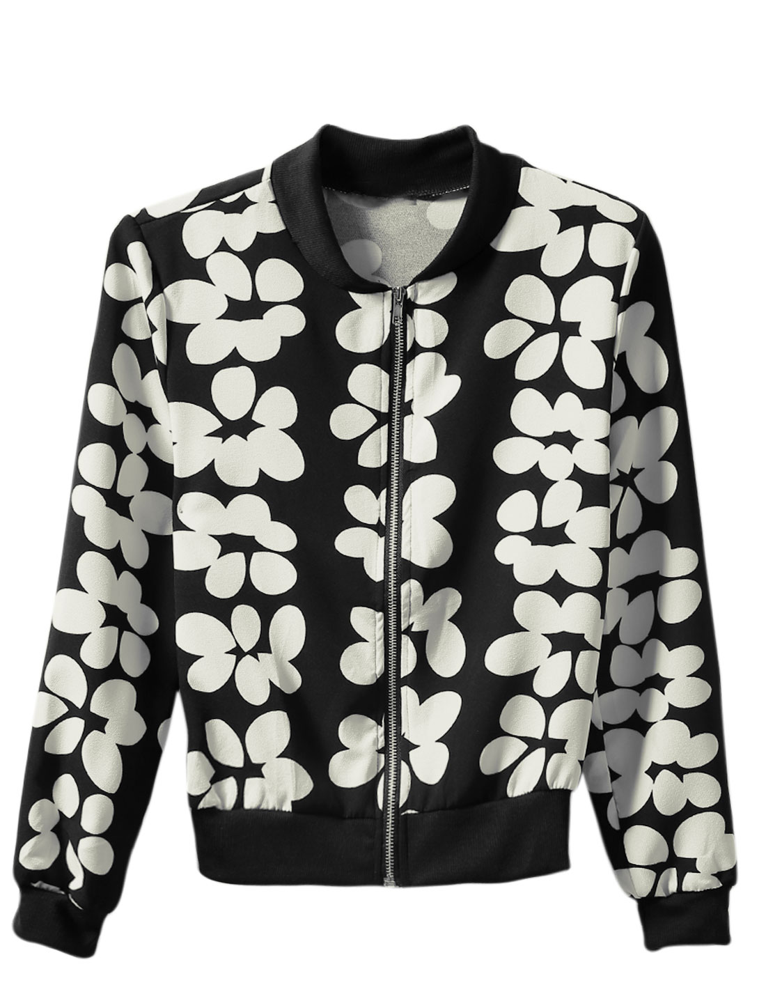 Cozy Fit Floral Pattern Zip Up Leisure Jacket for Lady Black White S