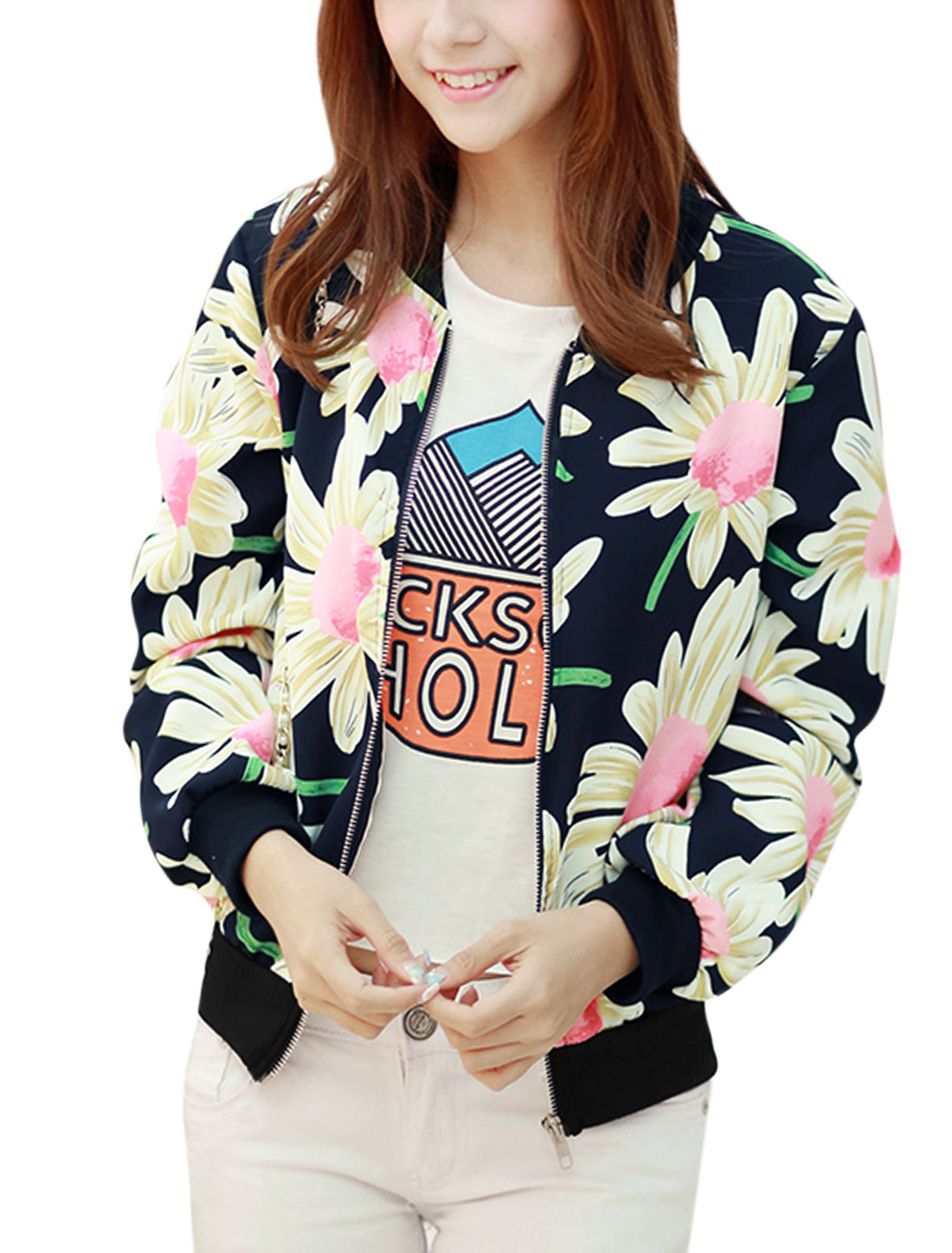Lady Floral Pattern Zip Up Cozy Fit Casual Jacket Navy Blue S
