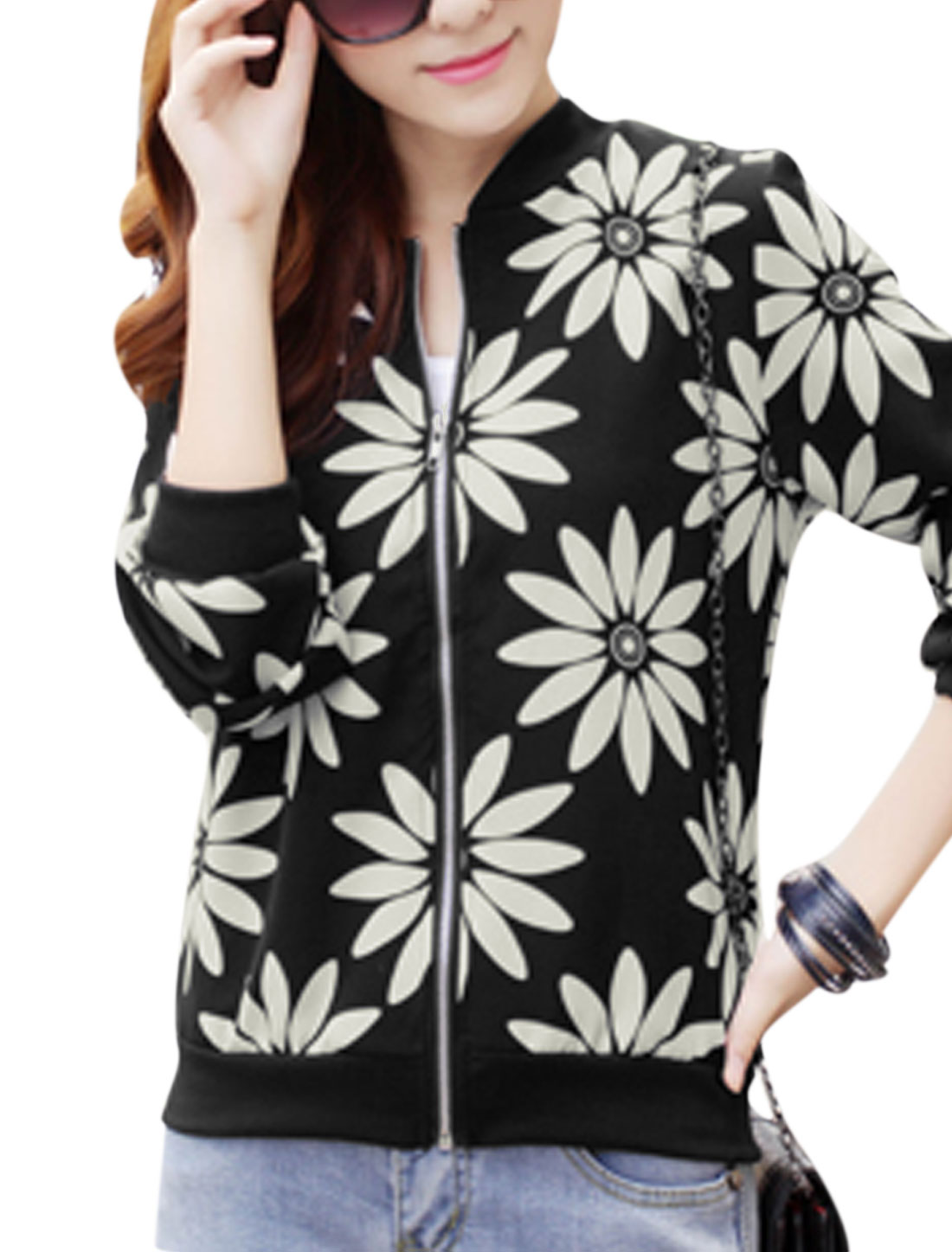 Lady Stand Collar Floral Pattern Fashionable Jacket Black S
