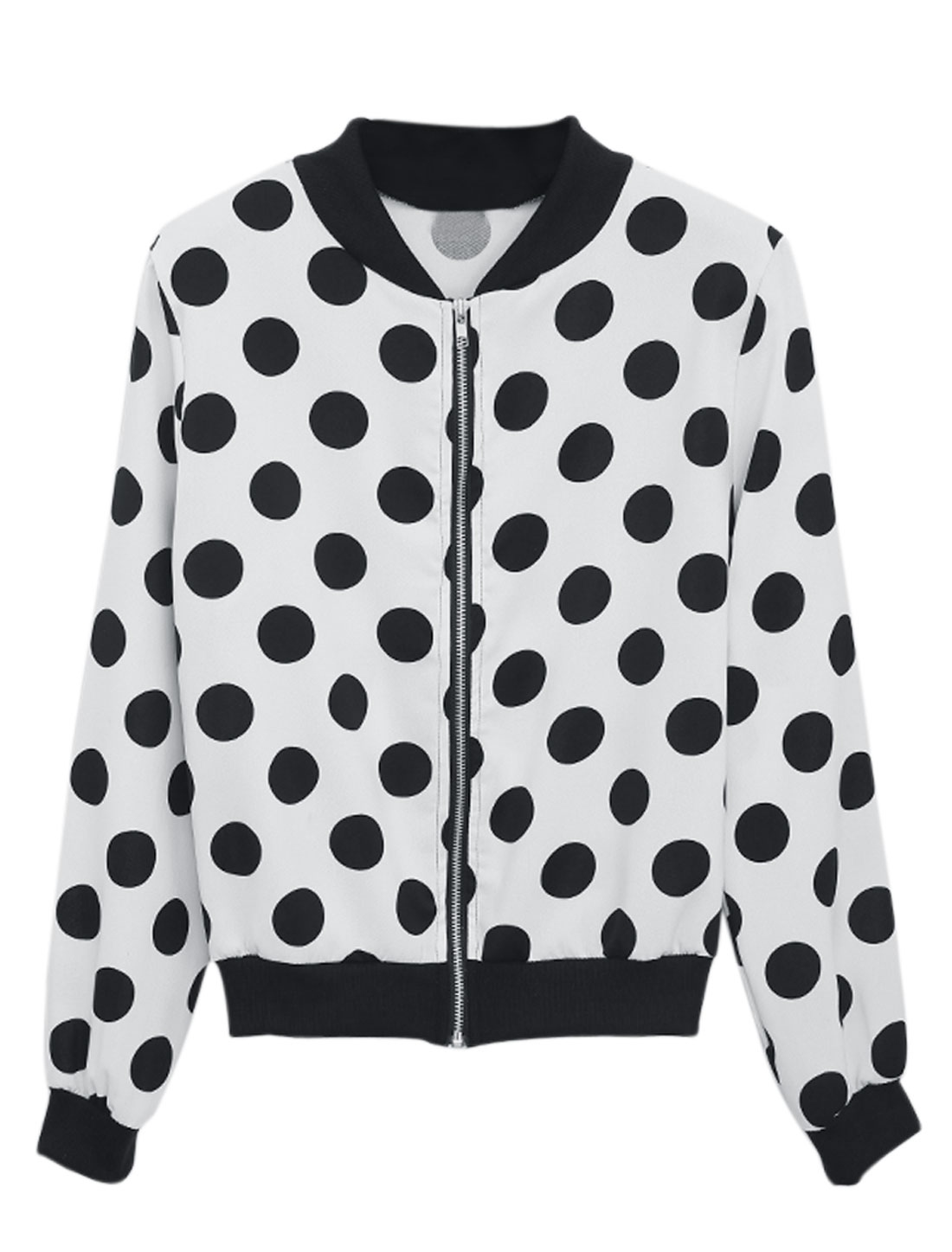 Lady Stand Collar Dots Pattern Zip Up Casual Jacket White Black S