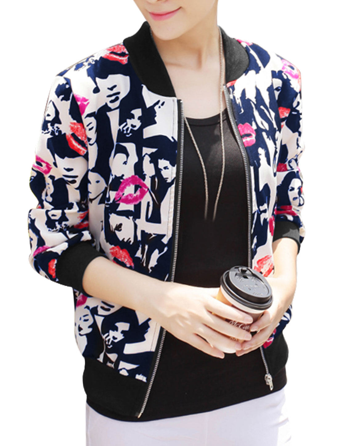Lady Lips Pattern Stand Collar Zip Up Casual Jacket Navy Blue Red S