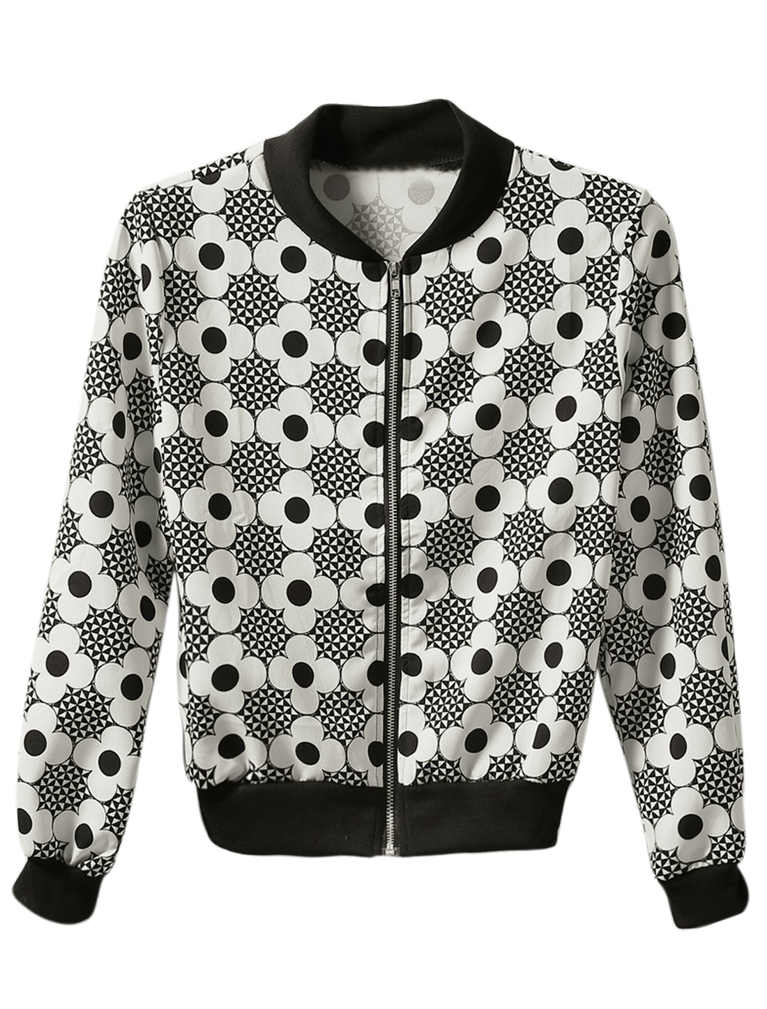 Lady Floral Geometric Pattern Zipper Closure Casual Jacket White Black S