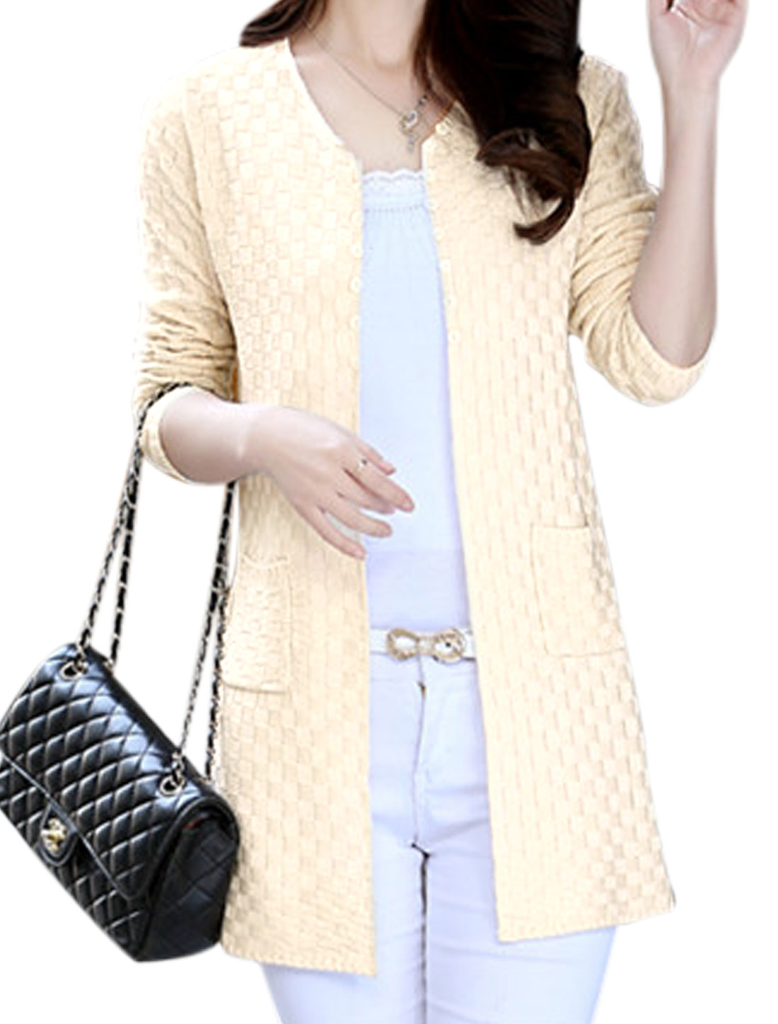 Lady Open Front Double Vertical Pockets Casual Cardigan Beige XS