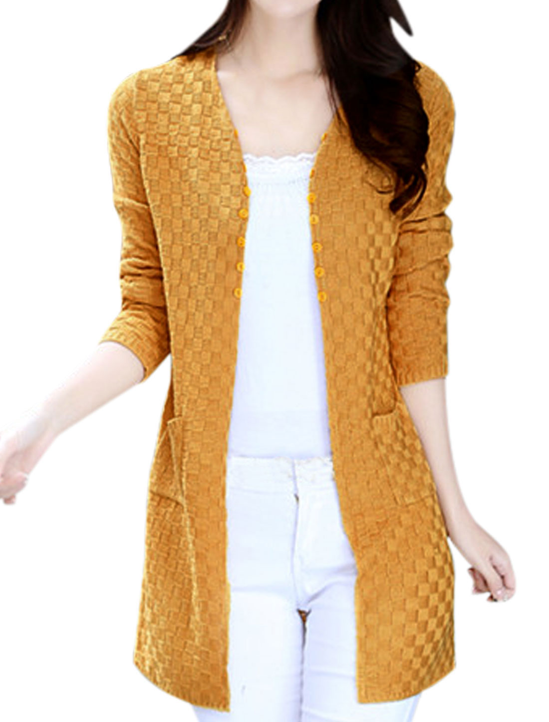 Women Non-Closure Double Front Pockets Casual Cardigan Yellow XS