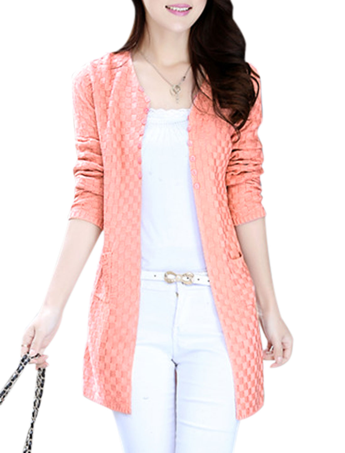 Lady Buttonless Front Double Pockets Casual Cardigan Pink XS