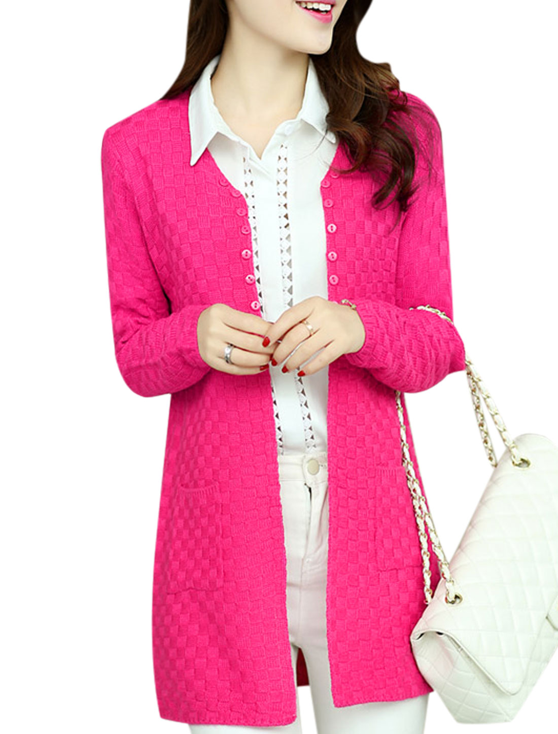 Women Fashion Style Open Front Vertical Pockets Leisure Cardigan Fuchsia XS