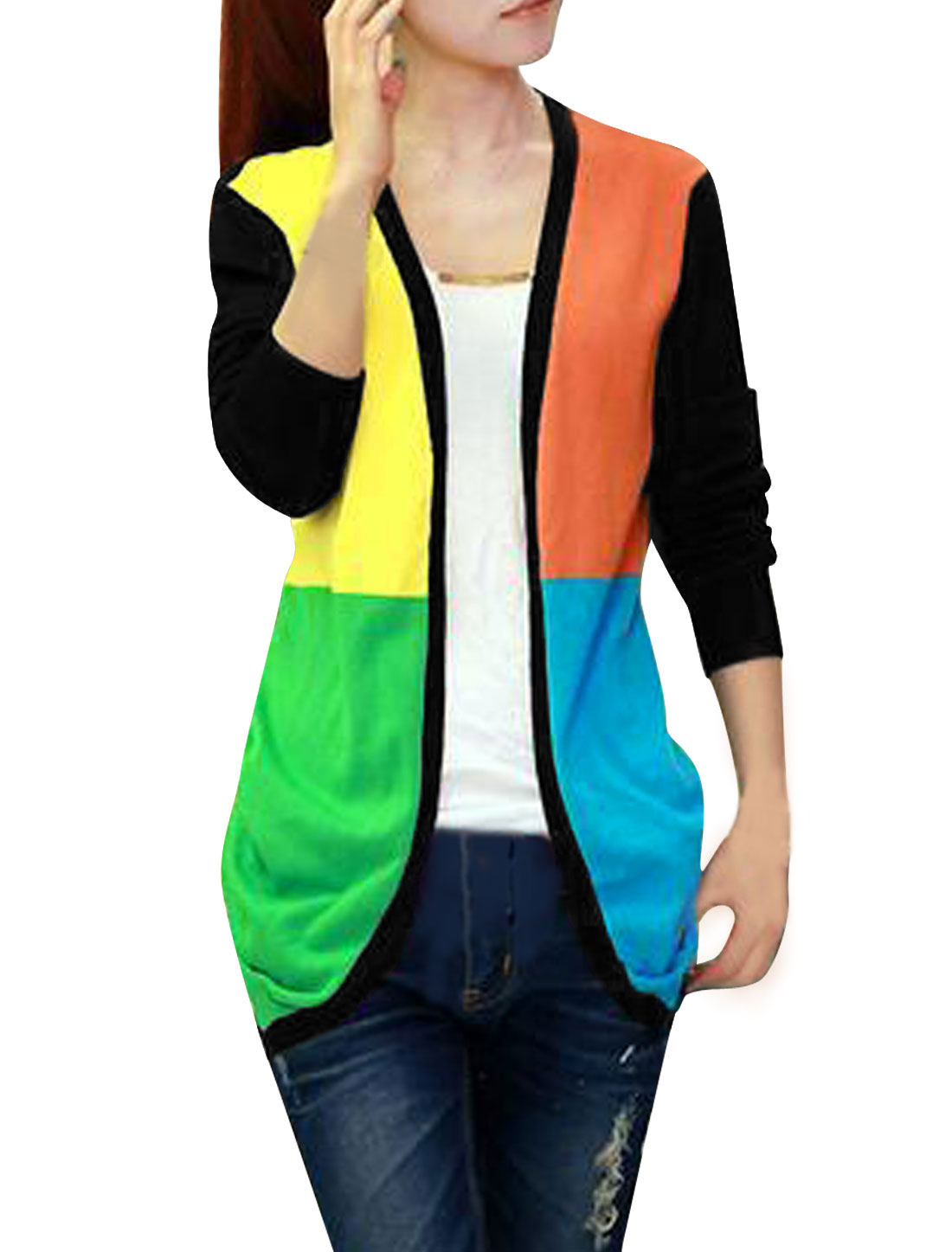 Women Color Block Open Front Asymmetric Hem Casual Cardigan Black XS