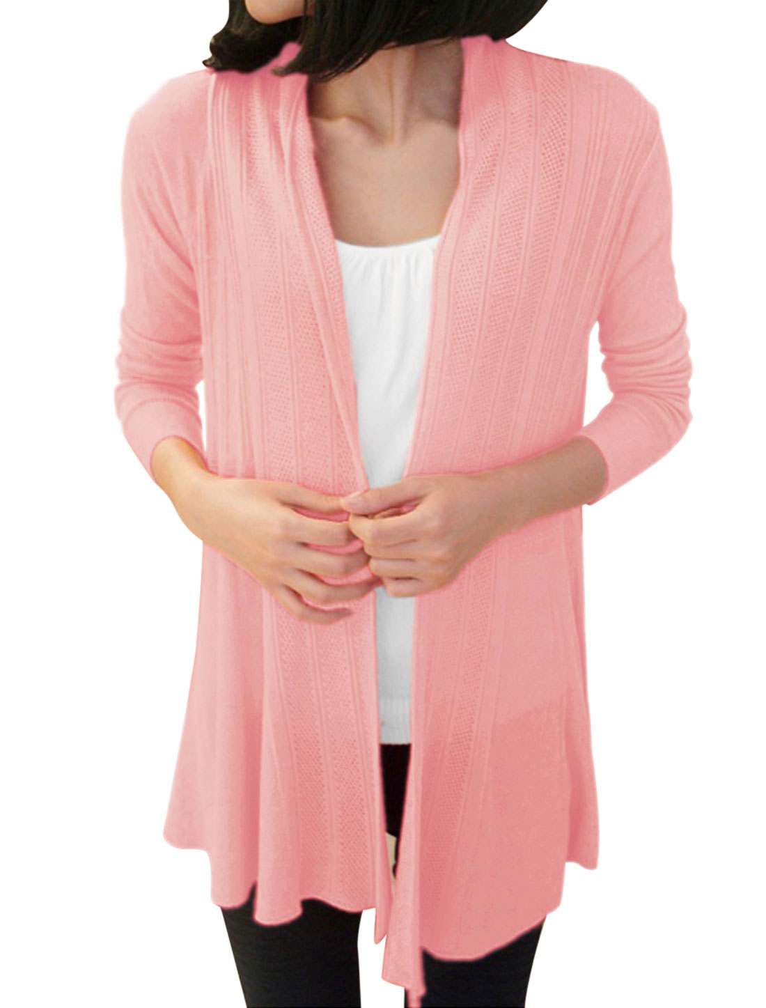 Women Front Opening Long Sleeve Casual Long Cardigan Pink XS