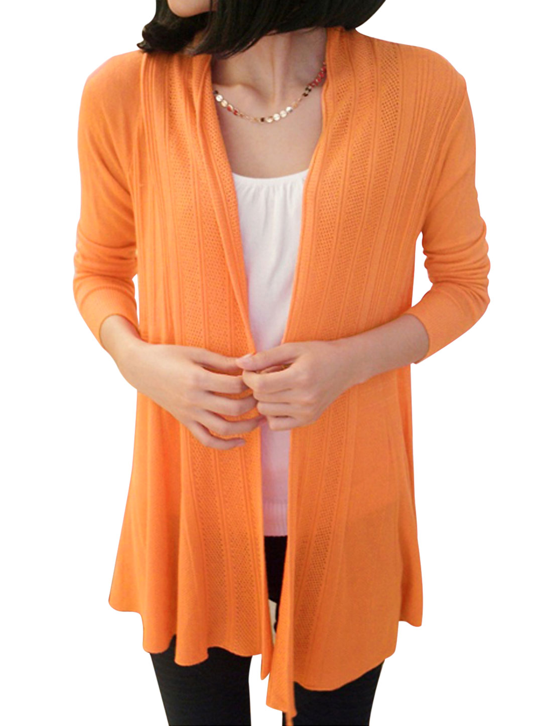 Lady Open Front Long Sleeve Casual Long Cardigan Orange XS