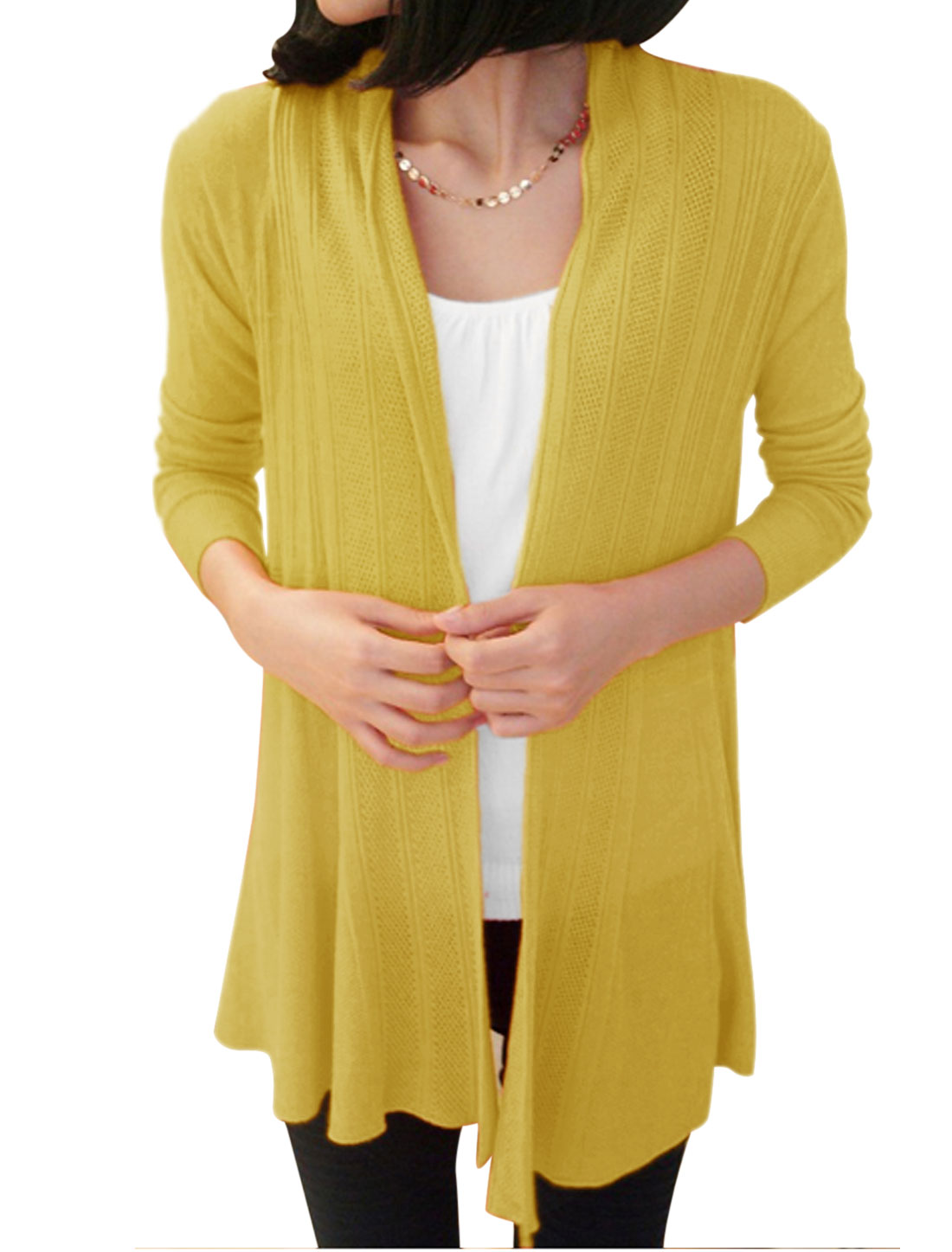 Women Non-Closure Front Long Sleeve Casual Long Cardigan Yellow XS
